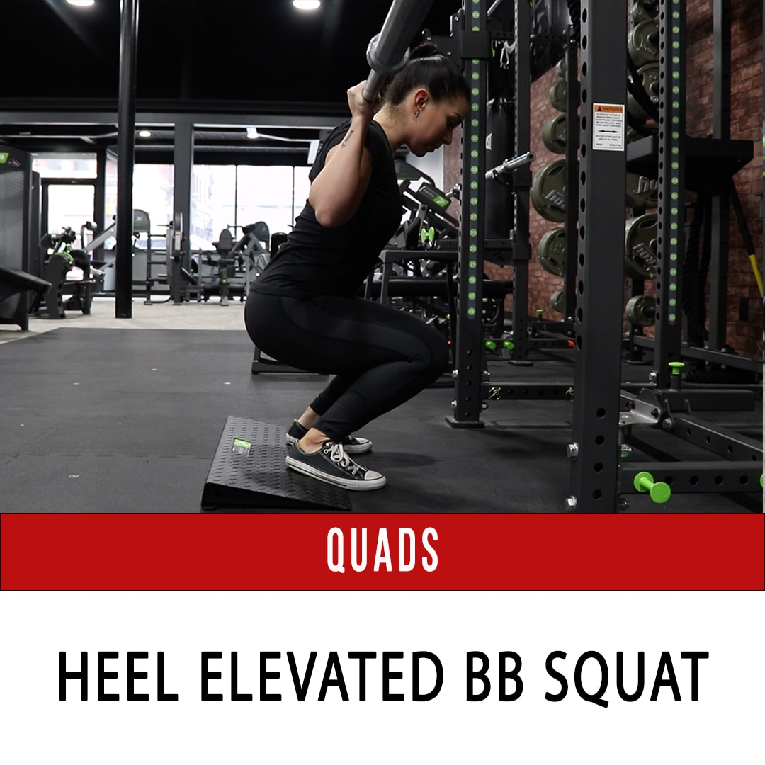 Heel Elevated Barbell Squat