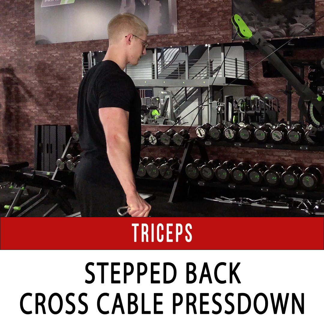 Tricep Stepped Back Cross Cable Extension