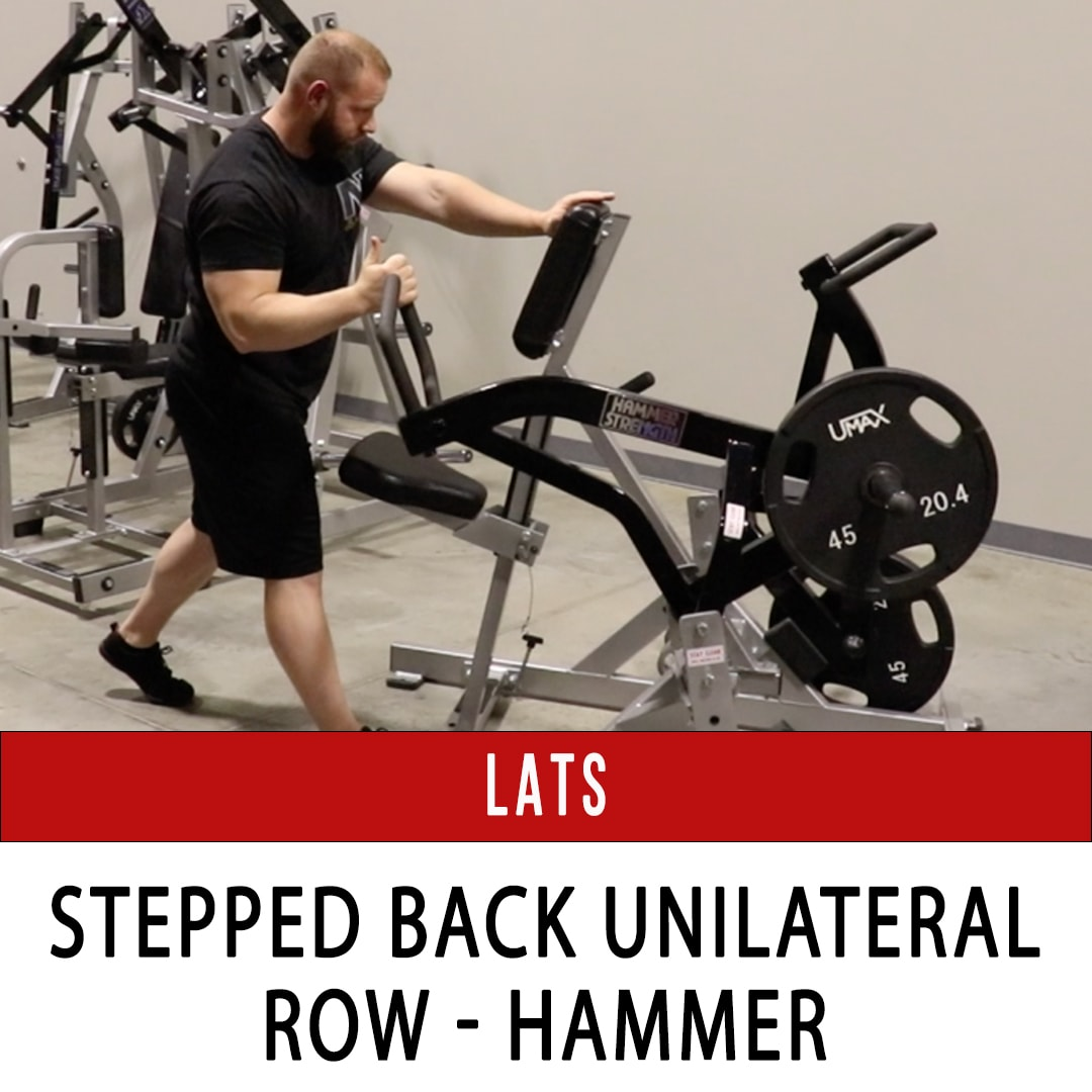 Lats Stepped Back Unilateral Row - Hammer